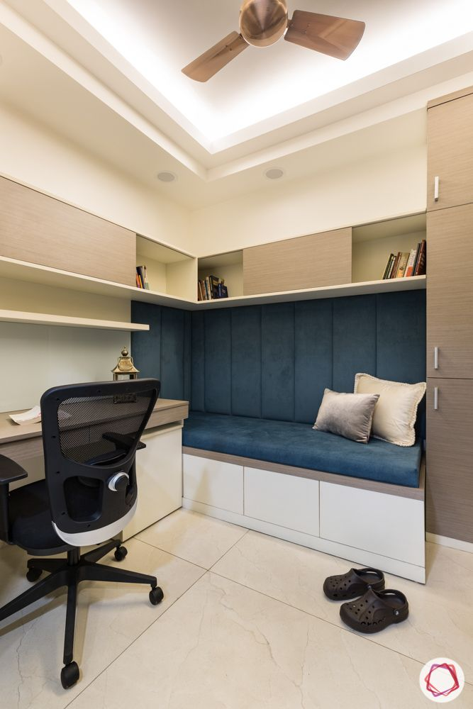 home office-study unit-wooden desk-suede seating