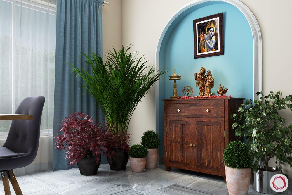 small flat mandir design-niche temple unit