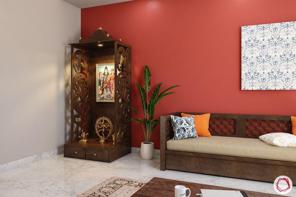 small flat mandir design-wooden pooja unit-standing unit