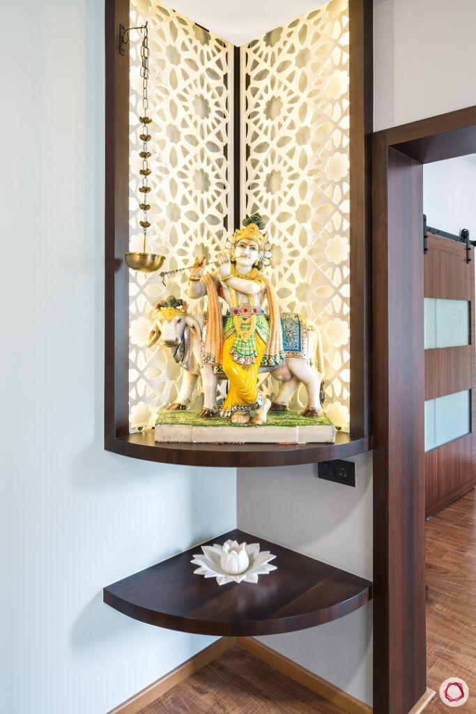 small flat mandir design-corner mandir-floating shelf