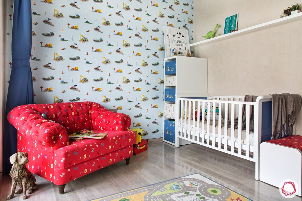 kids room seating ideas-red armchair designs-whire crib designs