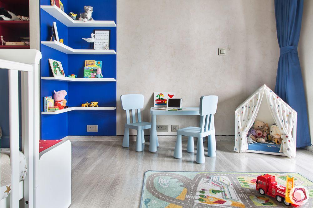 blue kids chair table set-blue wall paint ideas