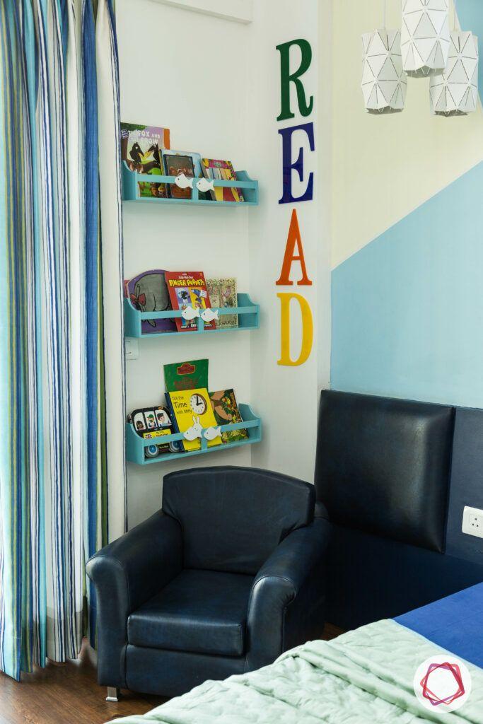 blue reading chair-reading corner designs