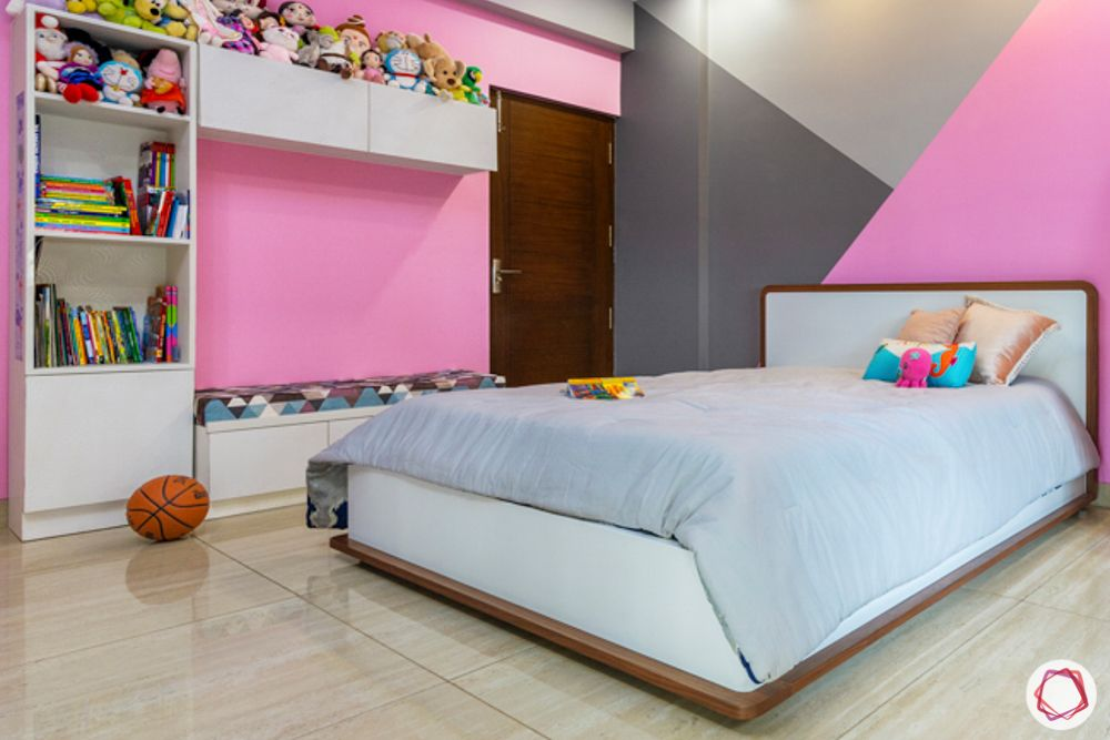 cushioned bench designs-pink colour wall ideas