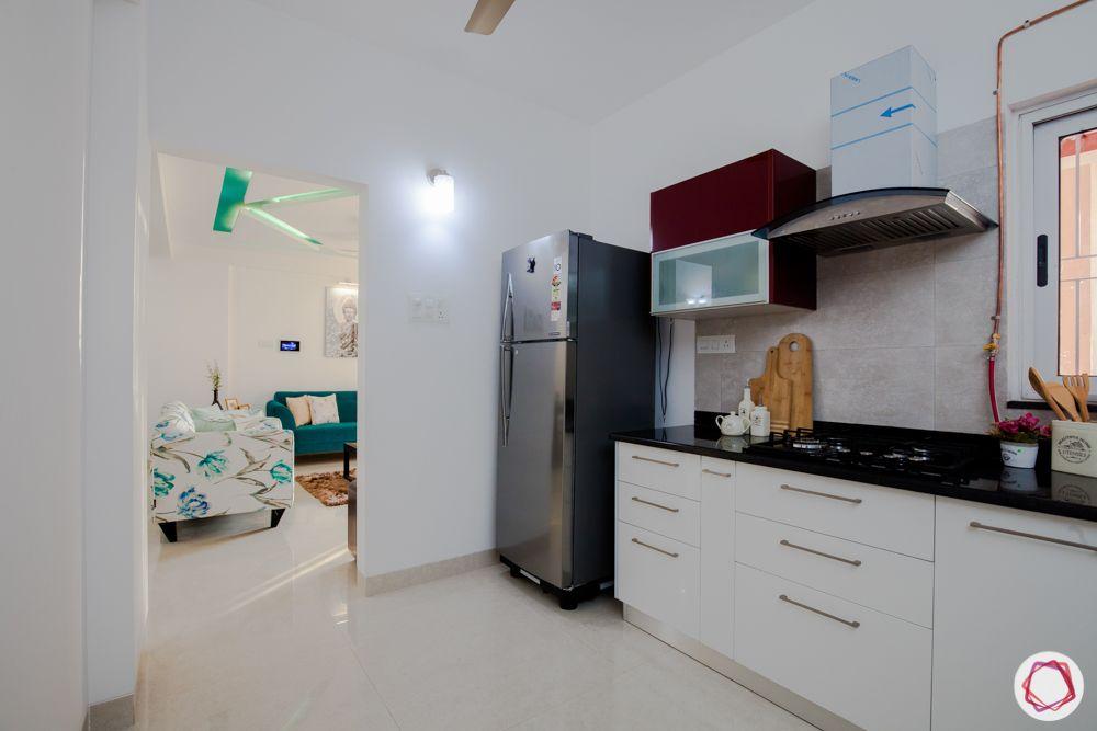 western hills baner-kitchen-chimney-granite countertop-acrylic finish-fridge