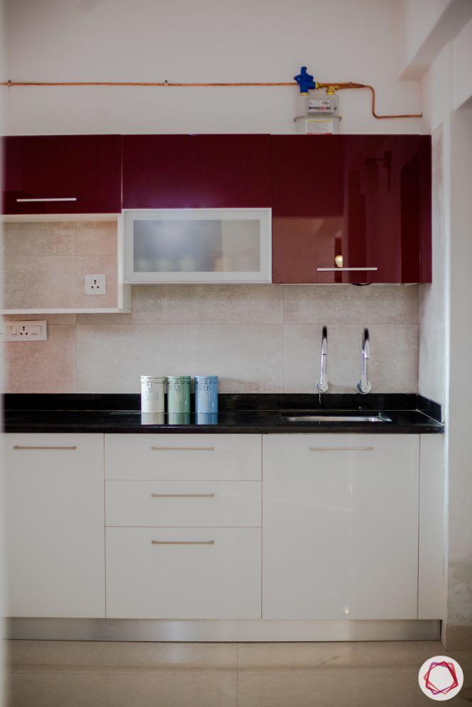 kitchen-granite countertop-maroon wall cabinets-white base cabinets-acrylic finish