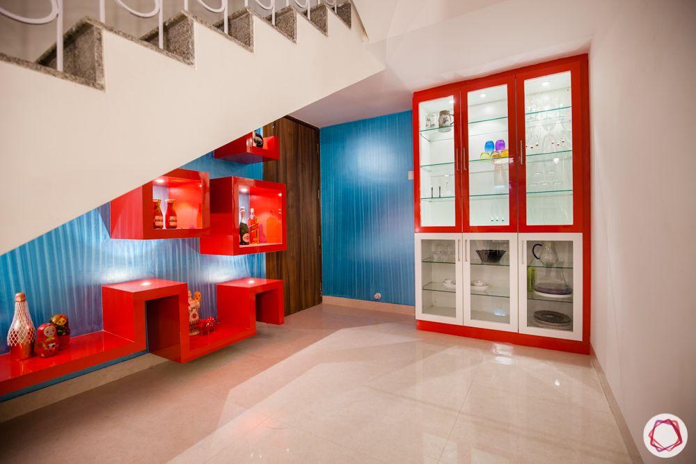 bar and crockery unit-glass crockery unit-laminate finish display shelves