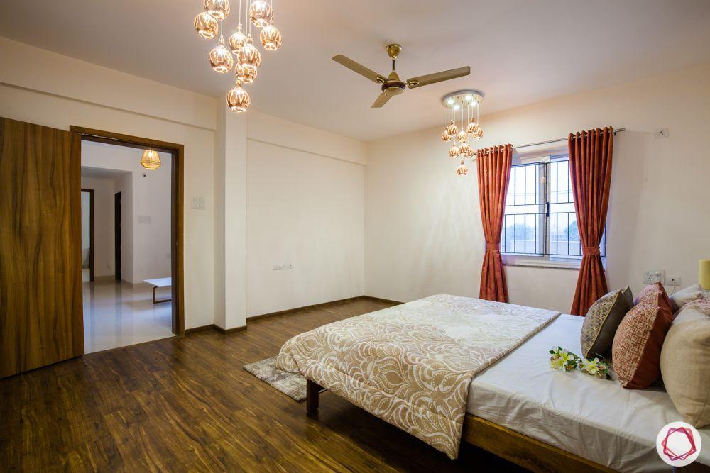 western hills baner-wooden flooring-pendant lights-wooden bed-side table