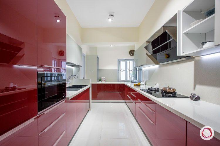 laminate sheets-acrylic kitchen-red kitchen-glossy kitchen