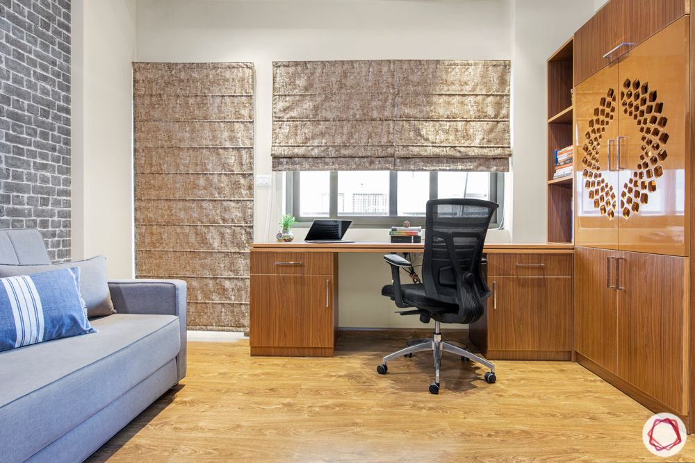 window curtain design-home office-roman blinds-beige blinds-pooja room door