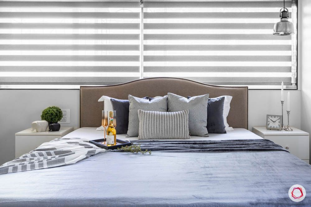 window curtain design-horizontal blinds-pendant light designs-grey bed