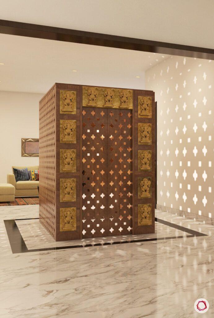 wooden mandir design-carved jaali-golden trim