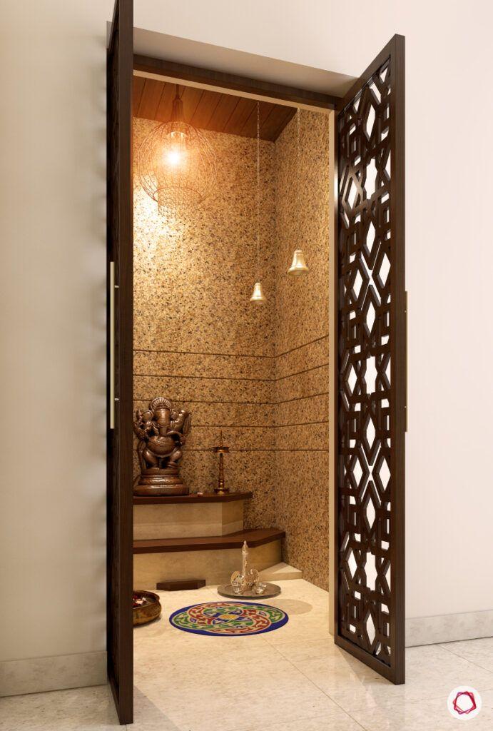 wooden mandir design-carved doors