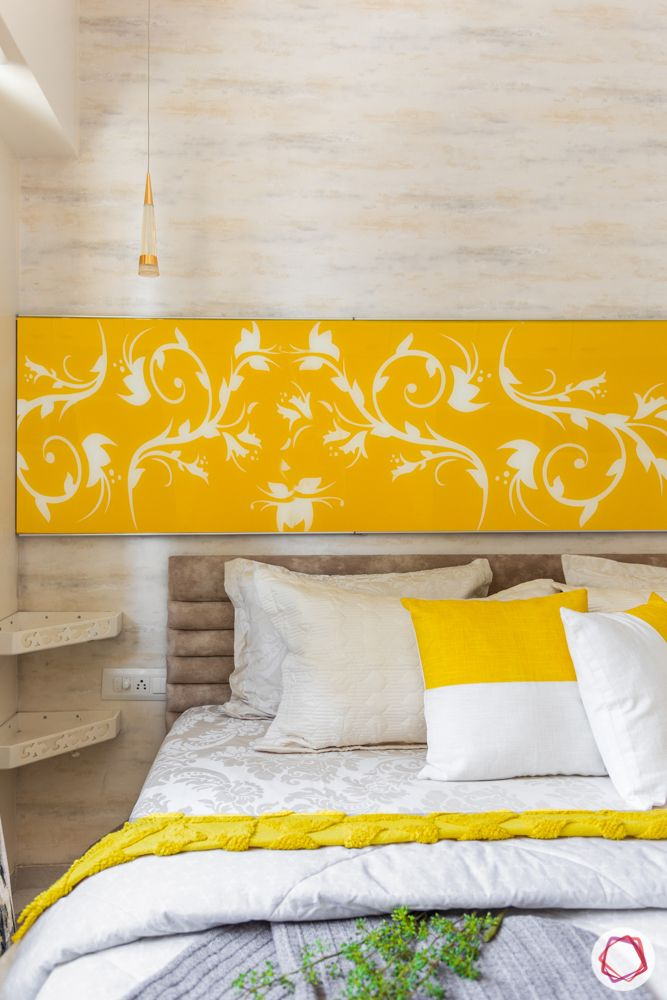 1-bhk-interior-design-bedroom-wallpaper-wall ledges-back-painted panel