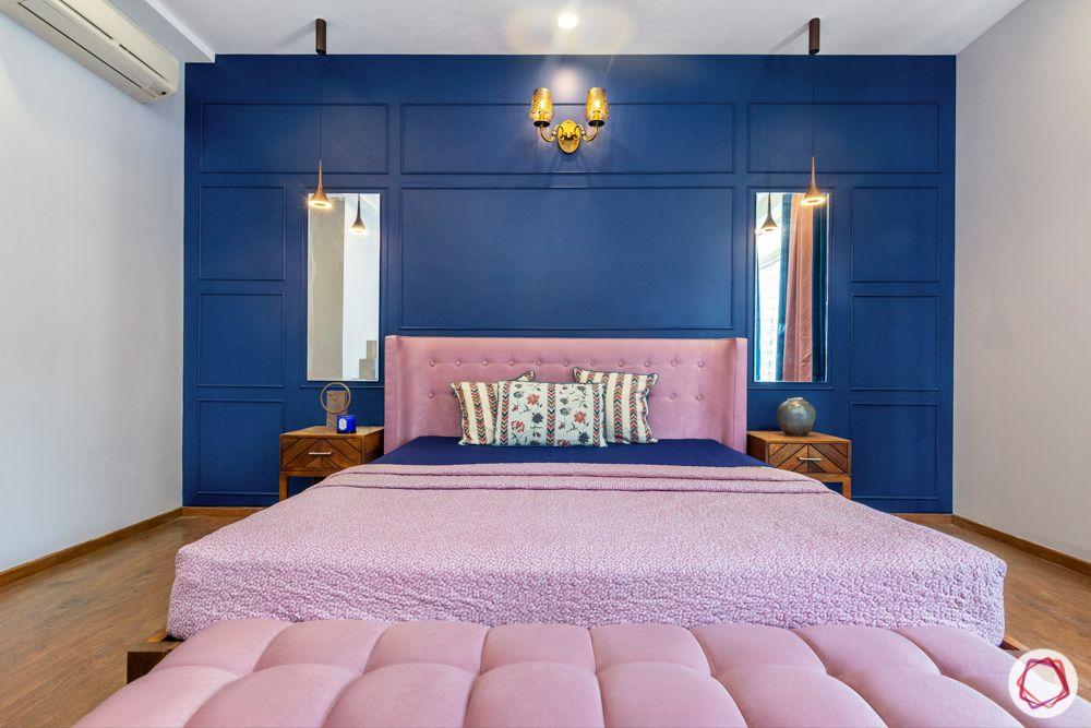flat interior-blue wall ideas-pink headboard designs