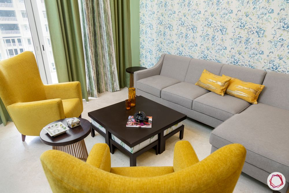 flat interior-yellow armchair designs-yellow cushion designs