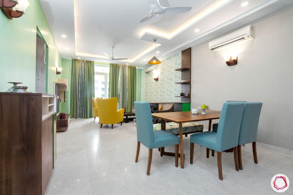 flat interior-blue chair designs-green wall colour ideas