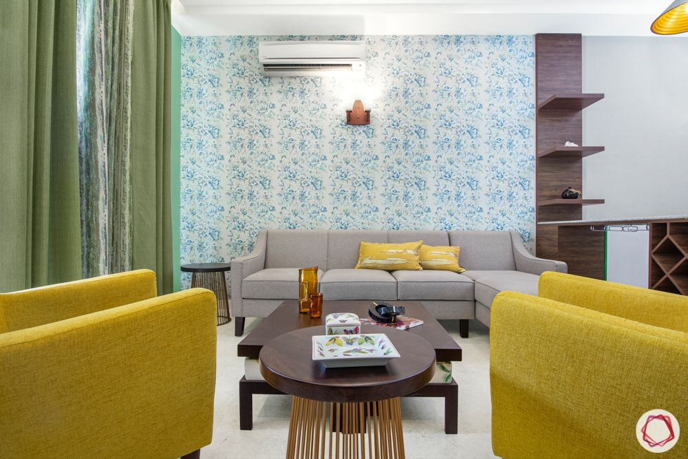 yellow armchair designs-blue floral wallpaper
