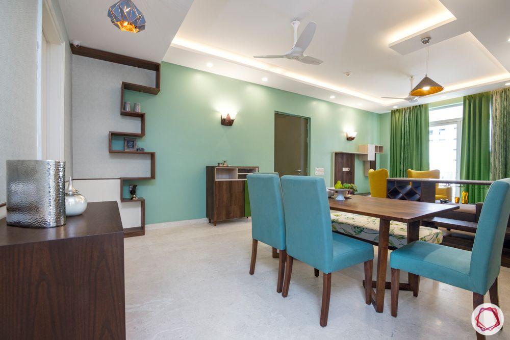 flat interior-green wall ideas-blue chair designs