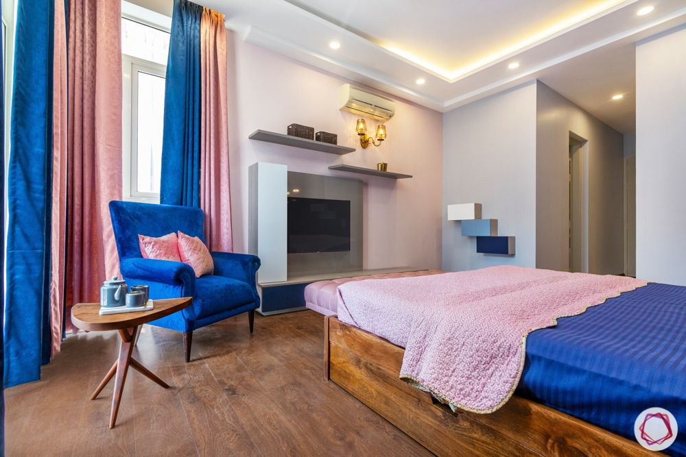 pink curtain designs-blue armchair designs