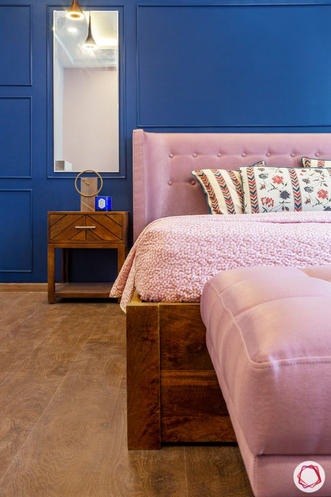 navy blue wall paint ideas-pink headboard designs