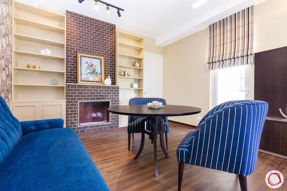 shelf designs-wooden flooring designs-exposed brickwall texture paint