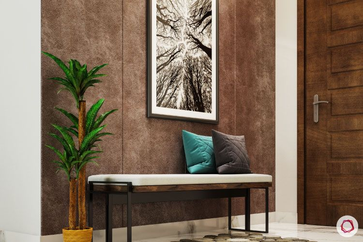 foyer seating-bench designs-plants for foyer