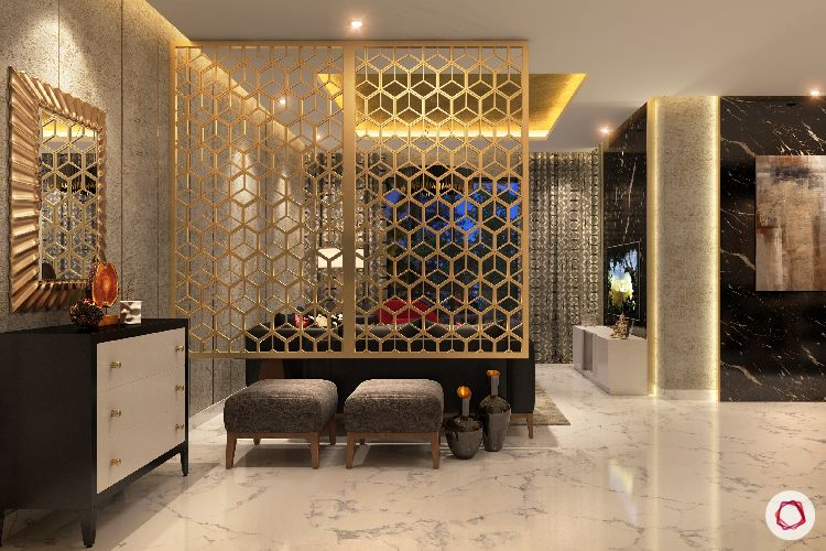 foyer seating-ottoman designs-jaali partition designs