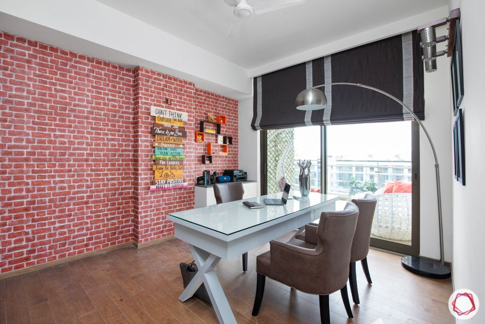 study room lighting-floor lamp-exposed brick wall-home office