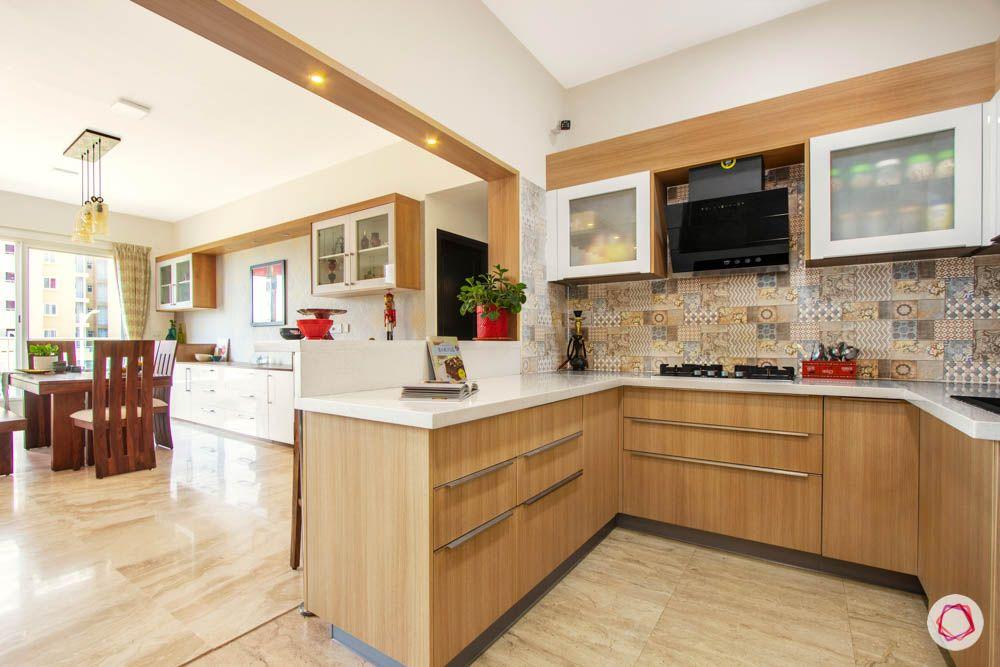open kitchen india-moroccan kitchen tiles-brown laminate kitchen