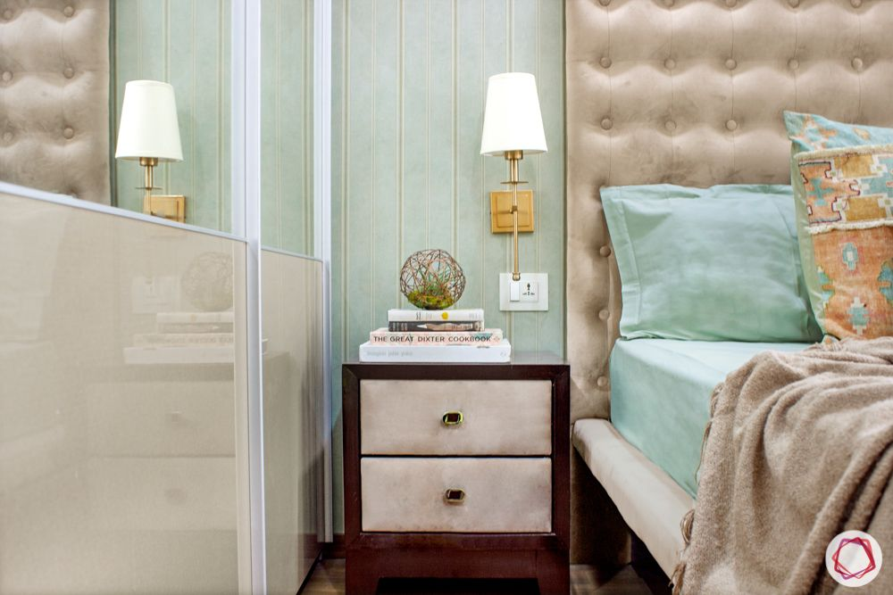snn raj etternia-master bedroom-white and gold lamp-bedside table designs