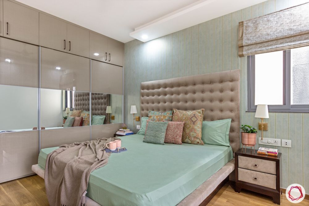 snn raj etternia-master bedroom-pink headboard-pastel green wallpaper-sliding wardrobe-blinds