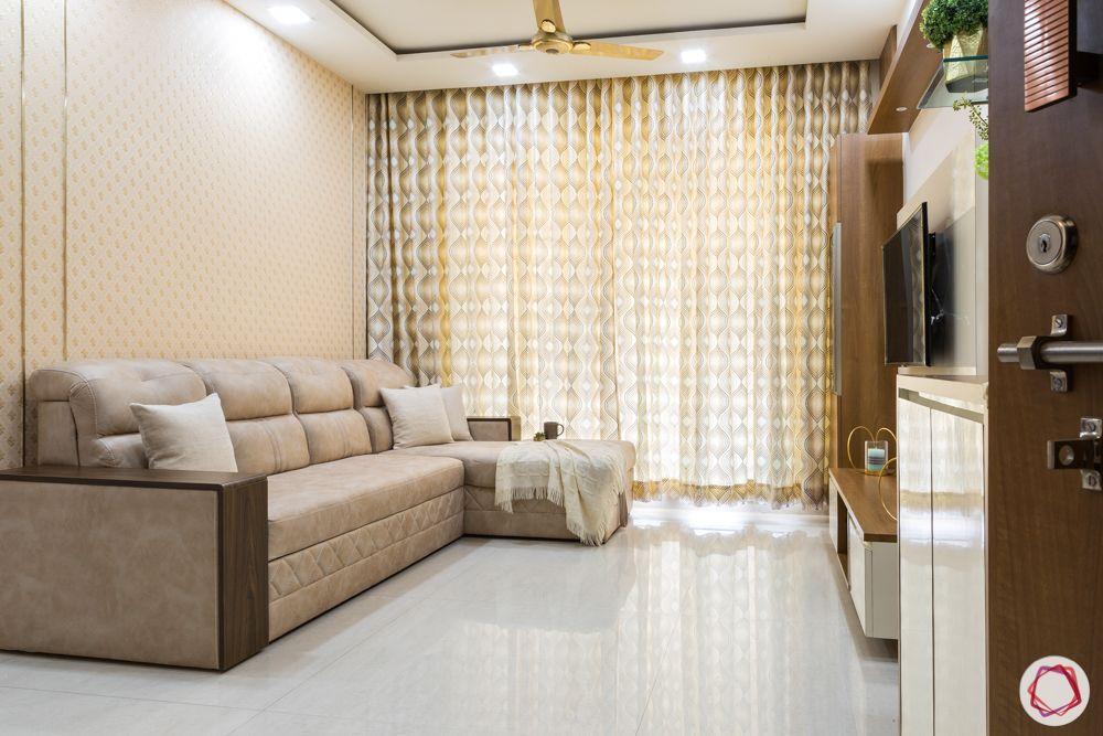 2bhk flat design-sofa bed-wallpaper-living room