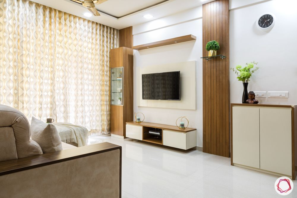 2bhk flat design-tv unit-wooden panelling-display shelf