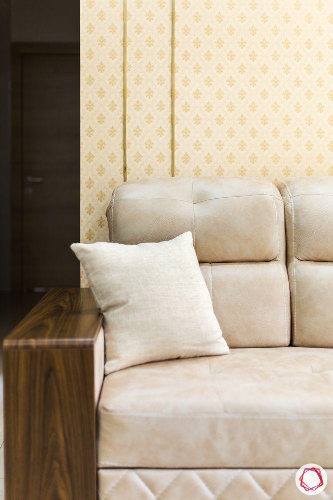 2bhk flat design-beige wallpaper-metal strips