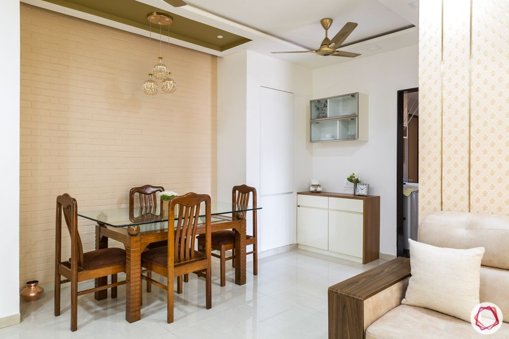 dining room-crockery unit-brick cladding-pendant lights