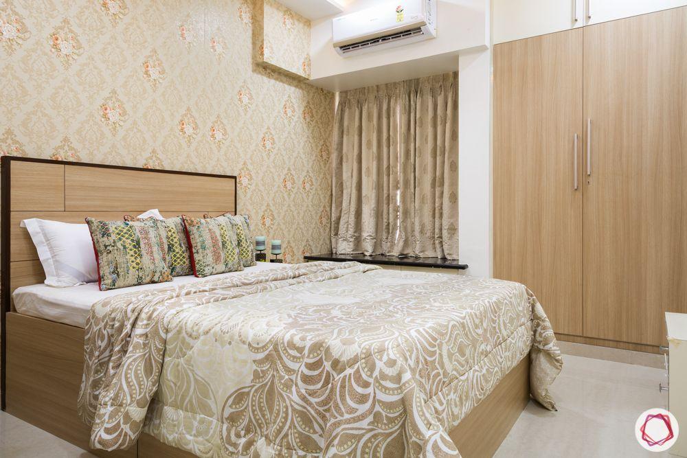 2bhk flat design-beige bedroom-wallpaper-wooden laminate wardrobe