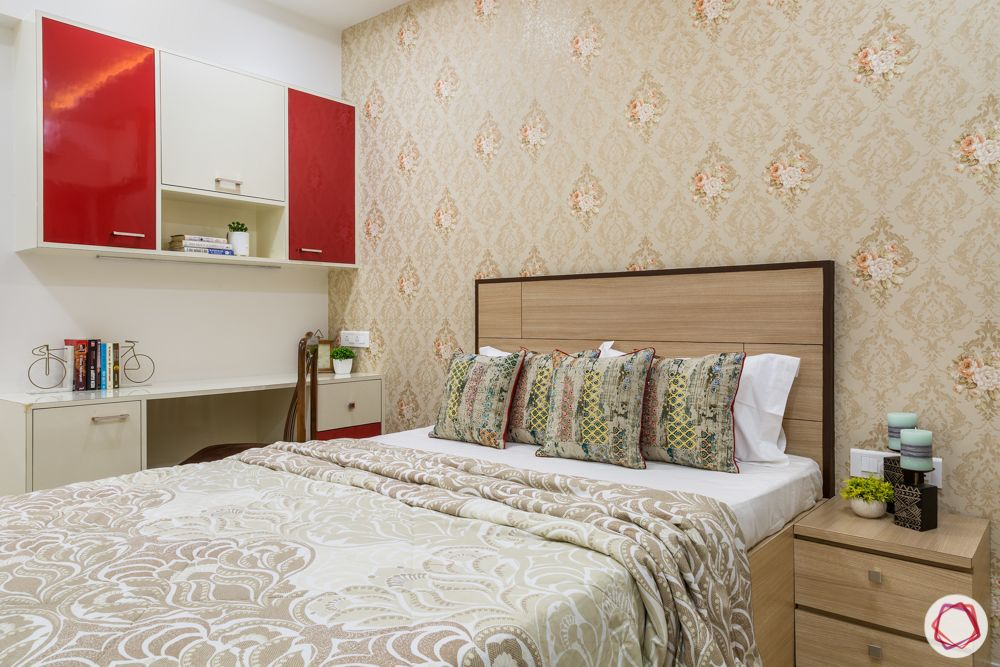beige bedroom-wallpaper-white and red study unit