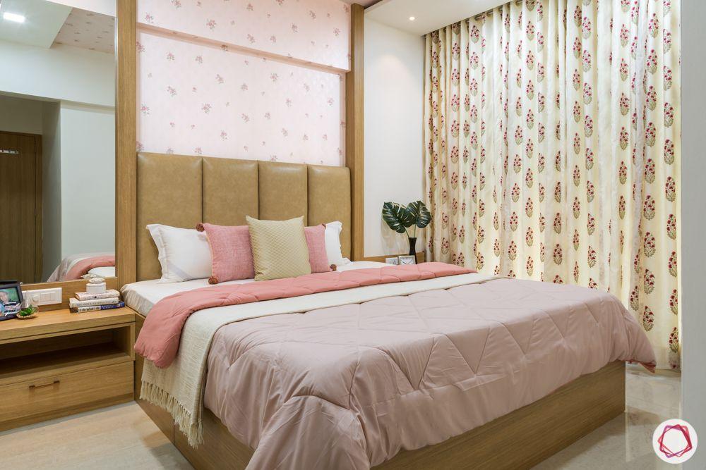 2bhk flat design-master bedroom-custom bed-pastel wallpaper