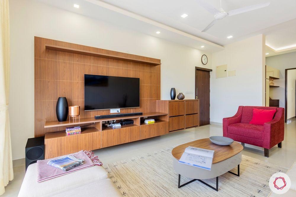salarpuria aspire-custom TV unit-walnut brown tv unit