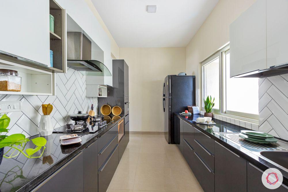 grey kitchen designs-parallel kitchen designs-white kitchen tiles