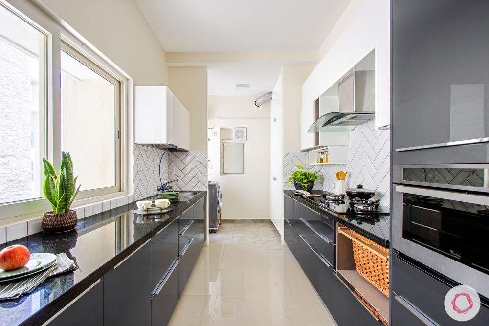 salarpuria aspire-grey kitchen designs-parallel kitchen designs