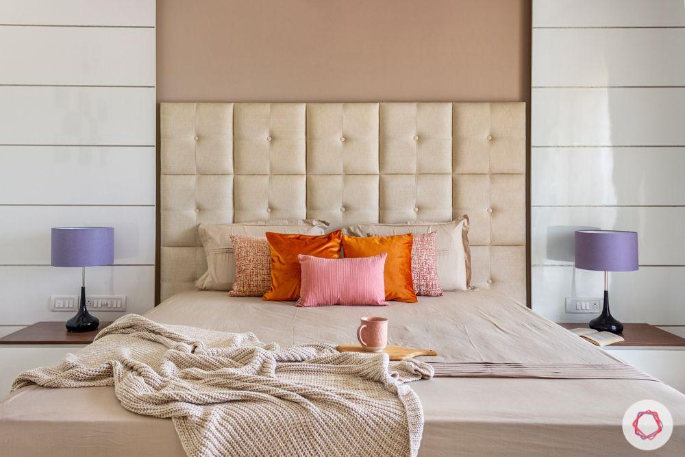 brown wall colour-beige headboard designs