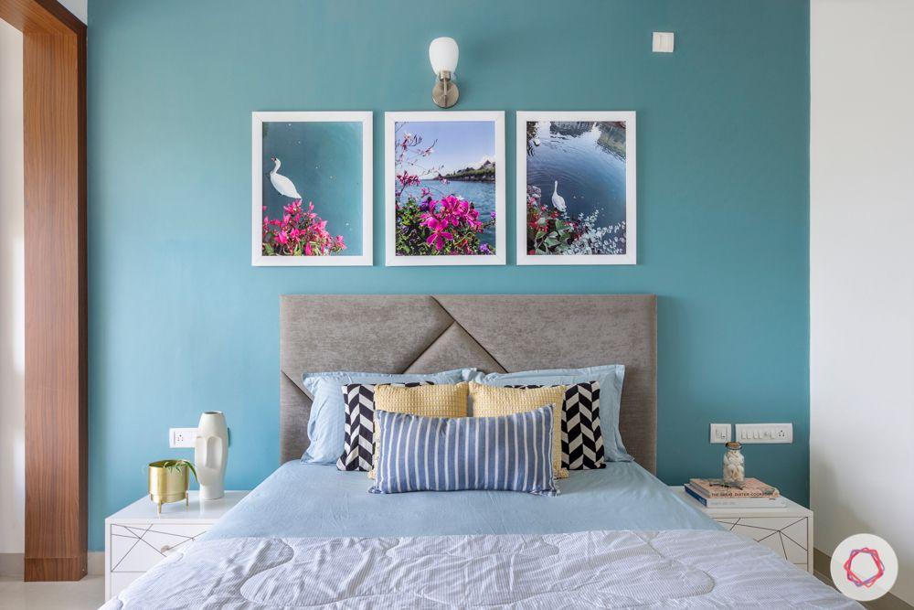 blue accent wall designs-grey headboard designs