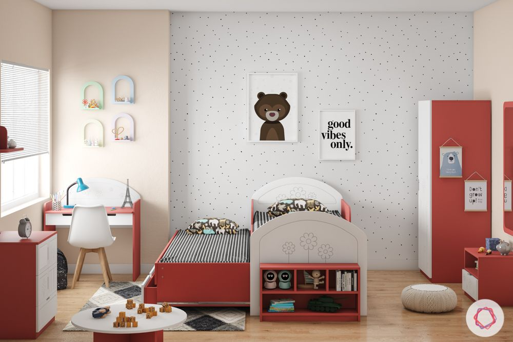 kids furniture-red wardrobe-red and white bed-trundle bed designs-study unit