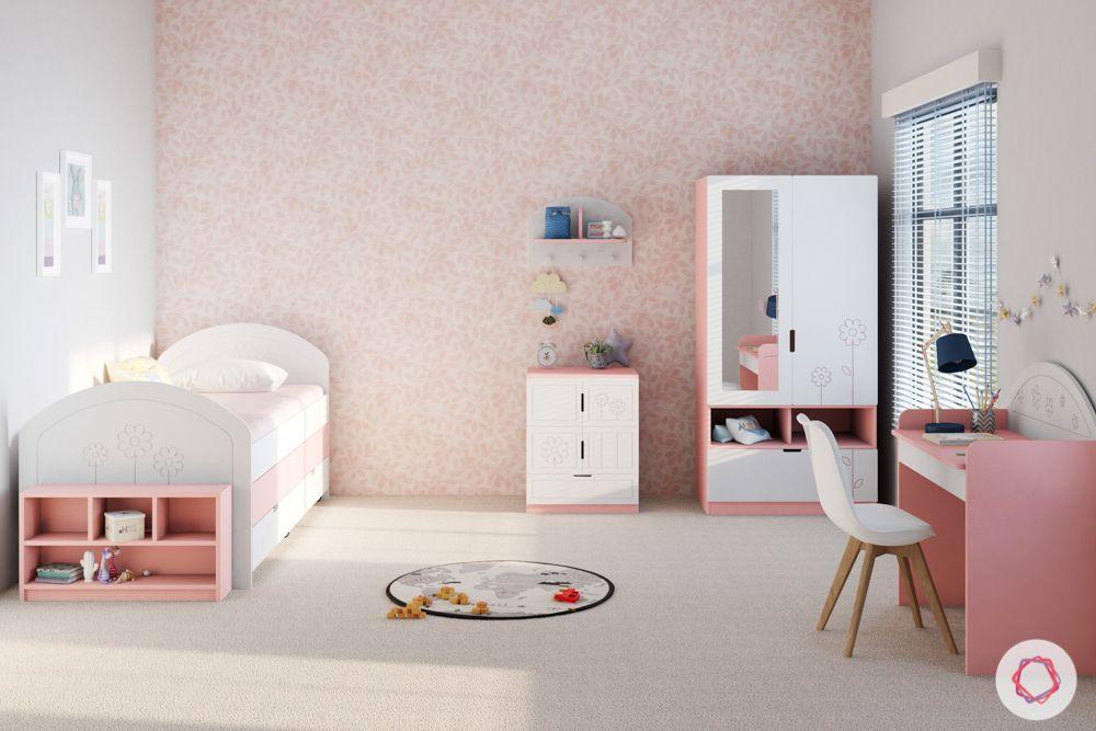 kids furniture-pink bed-study unit-vanity unit-pink wallpaper-storage bed