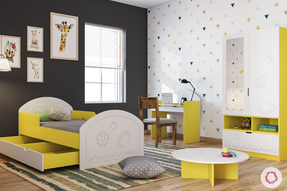 kids furniture-yellow bed-yellow wardrobe-yellow play table-grey wall-white wallpaper