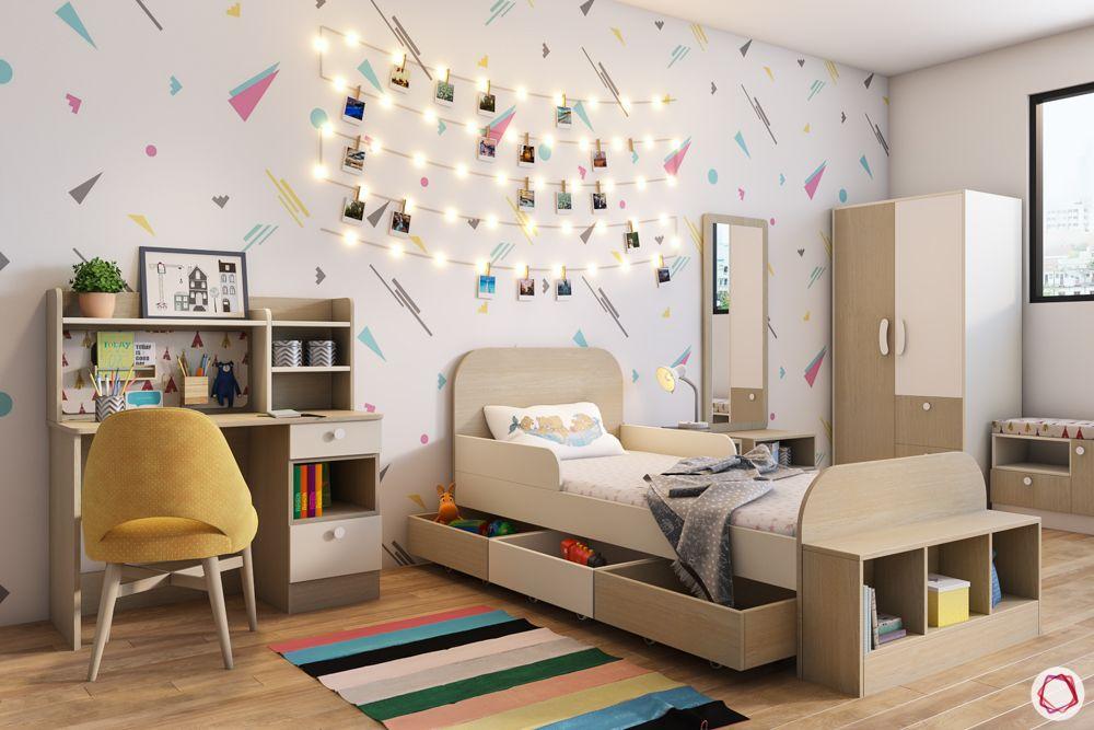 kids furniture-study unit designs-storage bed-wooden wardrobe-wallpaper