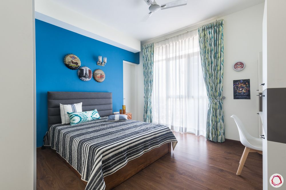 4 bhk apartment-grey headboard- blue and white wardrobe designs-blue walls