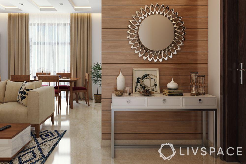 Foyer design-silver mirror-console table-sofa-accessories